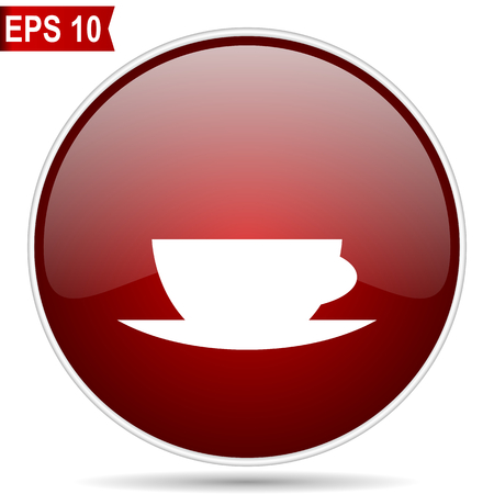 Espresso cherry red glossy round web vector icon. Editable simple circle modern design internet button on white background.