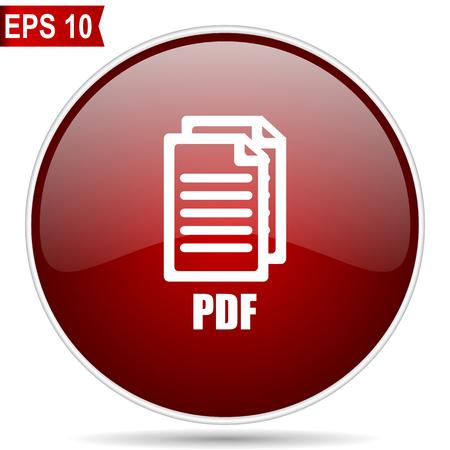 Pdf icono de vector de web redondo brillante rojo cereza. Botón de internet de diseño moderno círculo simple editable sobre fondo blanco. ,