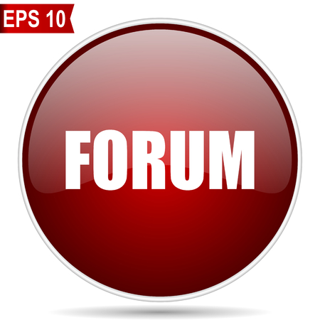 Forum cherry red glossy round web vector icon. Editable simple circle modern design internet button on white background.