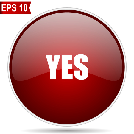 Yes cherry red glossy round web vector icon. Editable simple circle modern design internet button on white background.