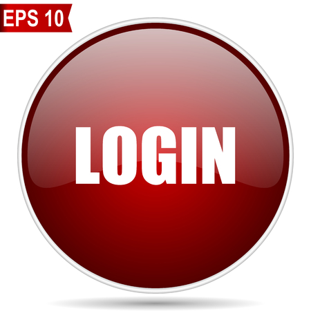 Login cherry red glossy round web vector icon. Editable simple circle modern design internet button on white background.