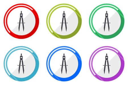 Learning vector icons, set of colorful flat design internet symbols on white background