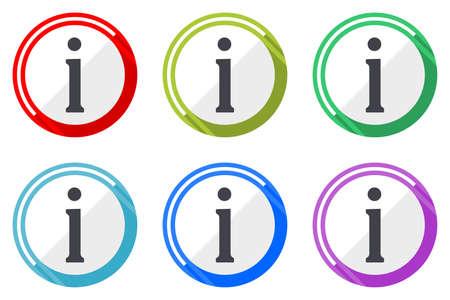 Information vector icons, set of colorful flat design internet symbols on white background Illustration