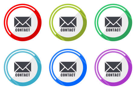 Email vector icons, set of colorful flat design internet symbols on white background