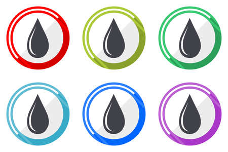 Water drop vector icons, set of colorful flat design internet symbols on white background 일러스트
