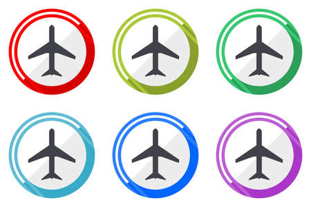 Plane vector icons, set of colorful flat design internet symbols on white background Vettoriali