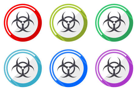 Biohazard vector icons, set of colorful flat design internet symbols on white background Vectores