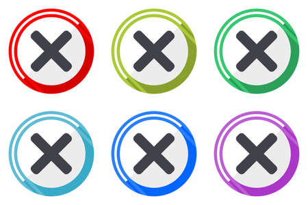 Cancel vector icons, set of colorful flat design internet symbols on white background Illustration