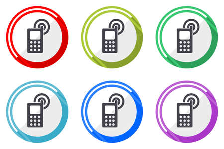 Phone vector icons, set of colorful flat design internet symbols on white background