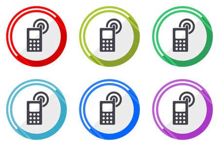 Phone vector icons, set of colorful flat design internet symbols on white background