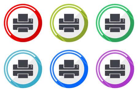 Printer vector icons, set of colorful flat design internet symbols on white background