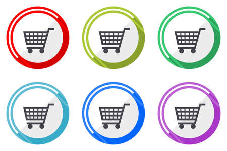 Shopping cart vector icons, set of colorful flat design internet symbols on white background