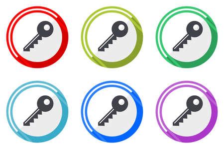 Key vector icons, set of colorful flat design internet symbols on white background