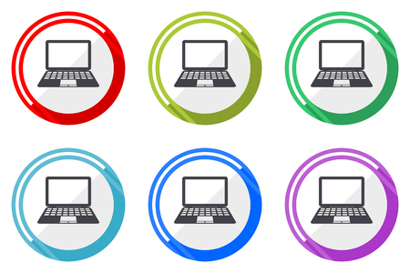 Computer web vector icons, set of colorful flat round design editable internet buttons in eps 10 for webdesign and smartphone applicatios