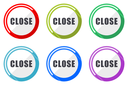 Close web vector icons, set of colorful flat round design editable internet buttons in eps 10 for webdesign and smartphone applicatios