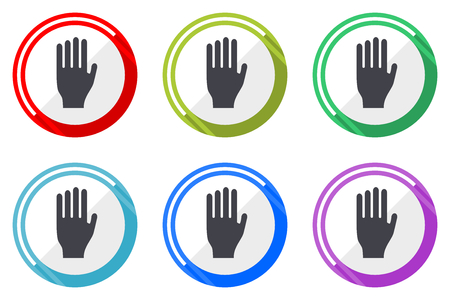 Stop web vector icons, set of colorful flat round design editable internet buttons in eps 10 for webdesign and smartphone applicatios Illustration