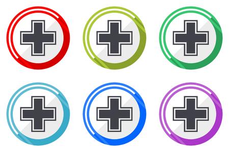 Pharmacy web vector icons, set of colorful flat round design editable internet buttons in eps 10 for webdesign and smartphone applicatios