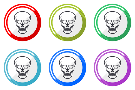 Skull web vector icons, set of colorful flat round design editable internet buttons in eps 10 for webdesign and smartphone applicatios Ilustração