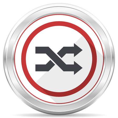 Aleatory silver metallic chrome border round web icon on white background
