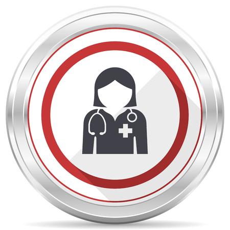 Doctor silver metallic chrome border round web icon on white background