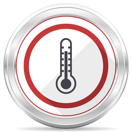 Thermometer silver metallic chrome border round web icon on white background
