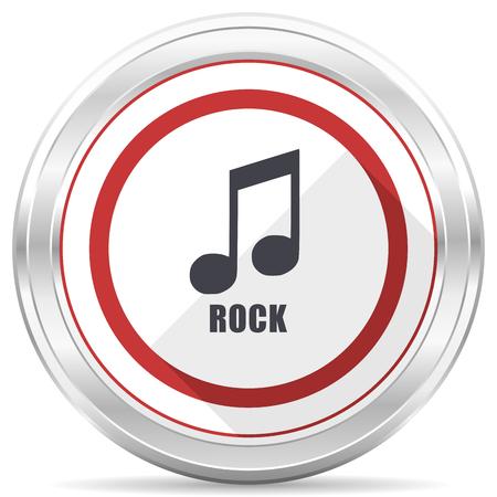 Rock music silver metallic chrome border round web icon on white background