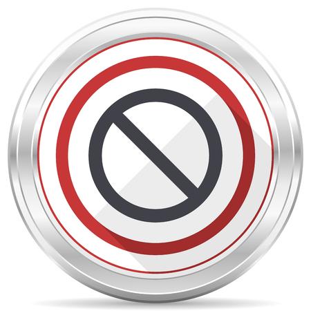 Access denied silver metallic chrome border round web icon on white background