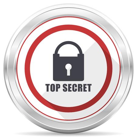 Top seret silver metallic chrome border round web icon on white background