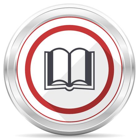 Book silver metallic chrome border round web icon on white background Stock Photo