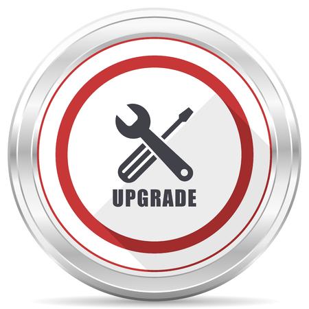Upgrade silver metallic chrome border round web icon on white background