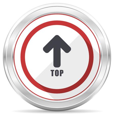 Top silver metallic chrome border round web icon on white background