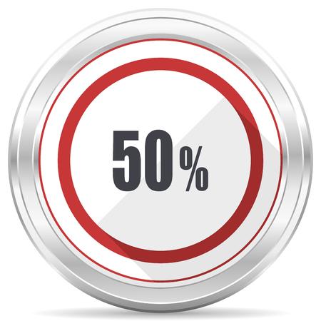 50 percent silver metallic chrome border round web icon on white background