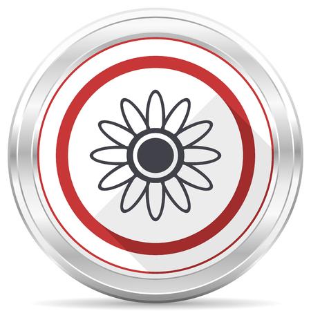 Flower silver metallic chrome border round web icon on white background