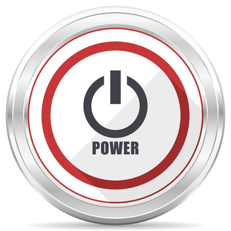 Power silver metallic chrome border round web icon on white background