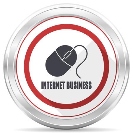 Internet business silver metallic chrome border round web icon on white background