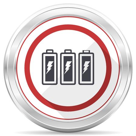 Battery silver metallic chrome border round web icon on white background