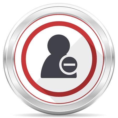 Remove contact silver metallic chrome border round web icon on white background Stock Photo