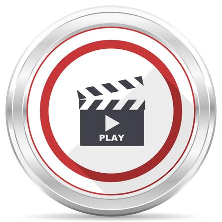 Video silver metallic chrome border round web icon on white background