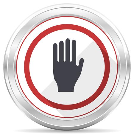 Stop silver metallic chrome border round web icon on white background