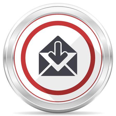 Email silver metallic chrome border round web icon on white background Stock Photo