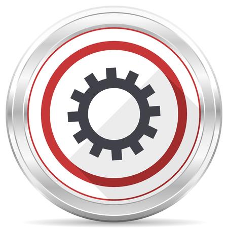 Gear silver metallic chrome border round web icon on white background