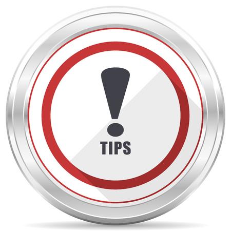 Tips silver metallic chrome border round web icon on white background