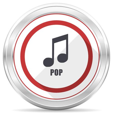 Pop music silver metallic chrome border round web icon on white background