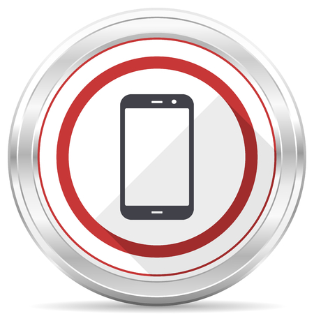 Smartphone silver metallic chrome border round web icon on white background Banque d'images