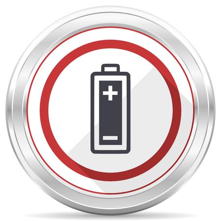 Battery silver metallic chrome border round web icon on white background Stock Photo - 105112674