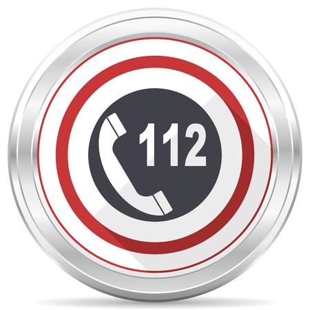 Emergency call silver metallic chrome border round web icon on white background 版權商用圖片
