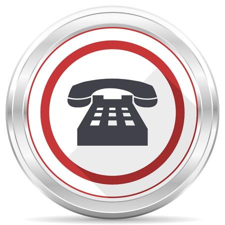 Téléphone chrome argent métallique ronde frontière icône web sur fond blanc