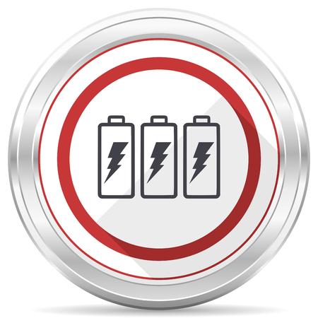 Battery silver metallic chrome border round web icon on white background Stock Photo - 105146351