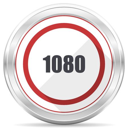 1080 silver metallic chrome border round web icon on white background