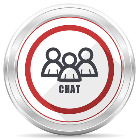 Chat silver metallic chrome border round web icon on white background